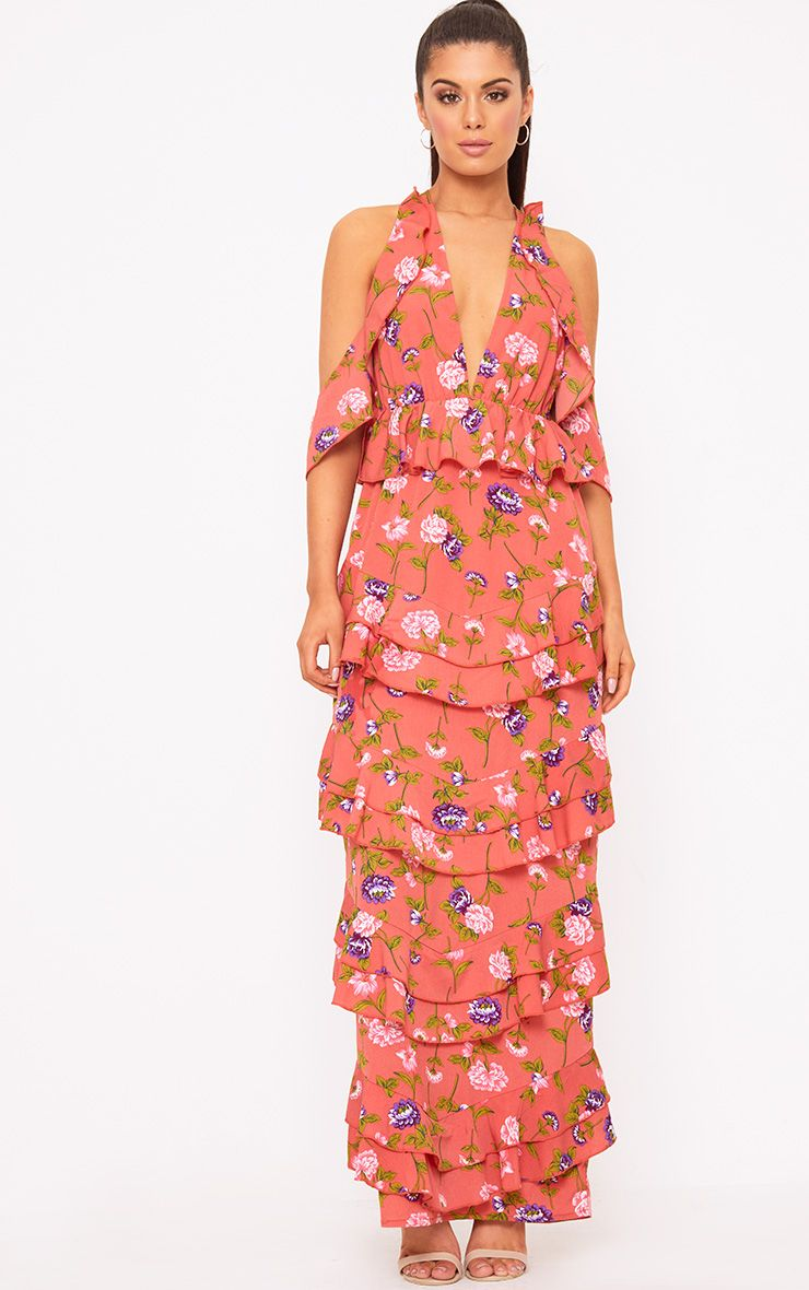 Coral Floral Cold Shoulder Frill Maxi Dress