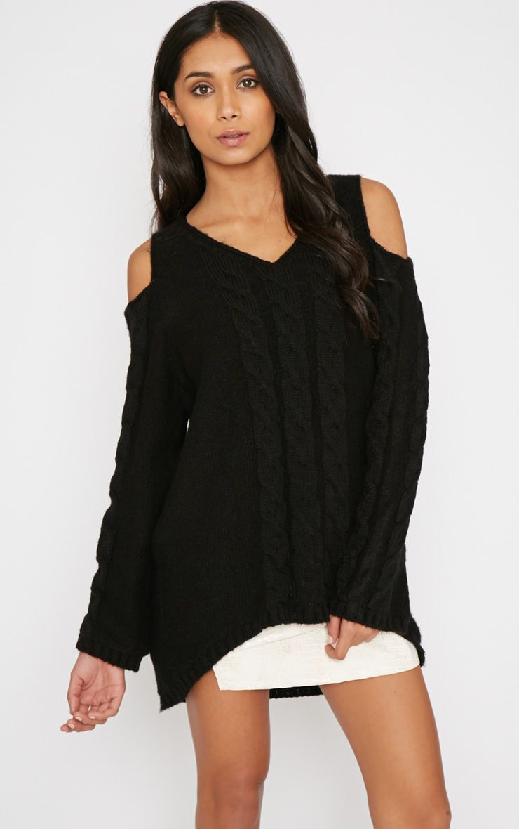 Clarisse Black Cut Out Shoulder Jumper  1