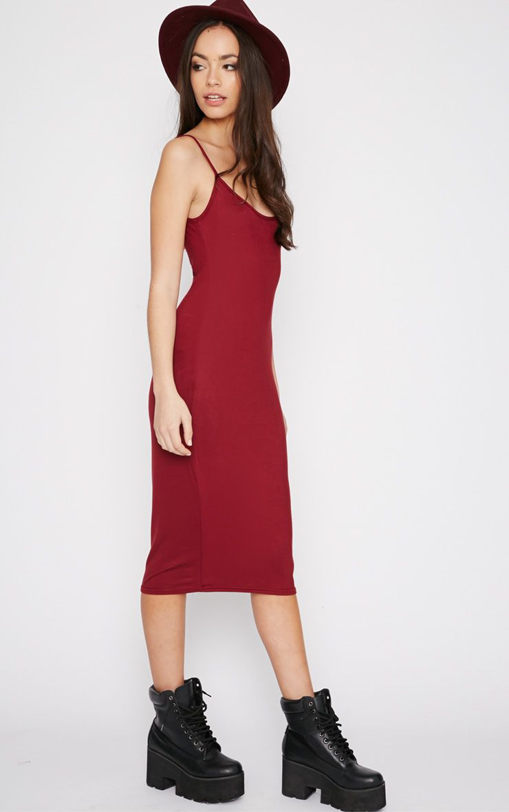 Madelyn Burgundy Midi Vest Dress 1