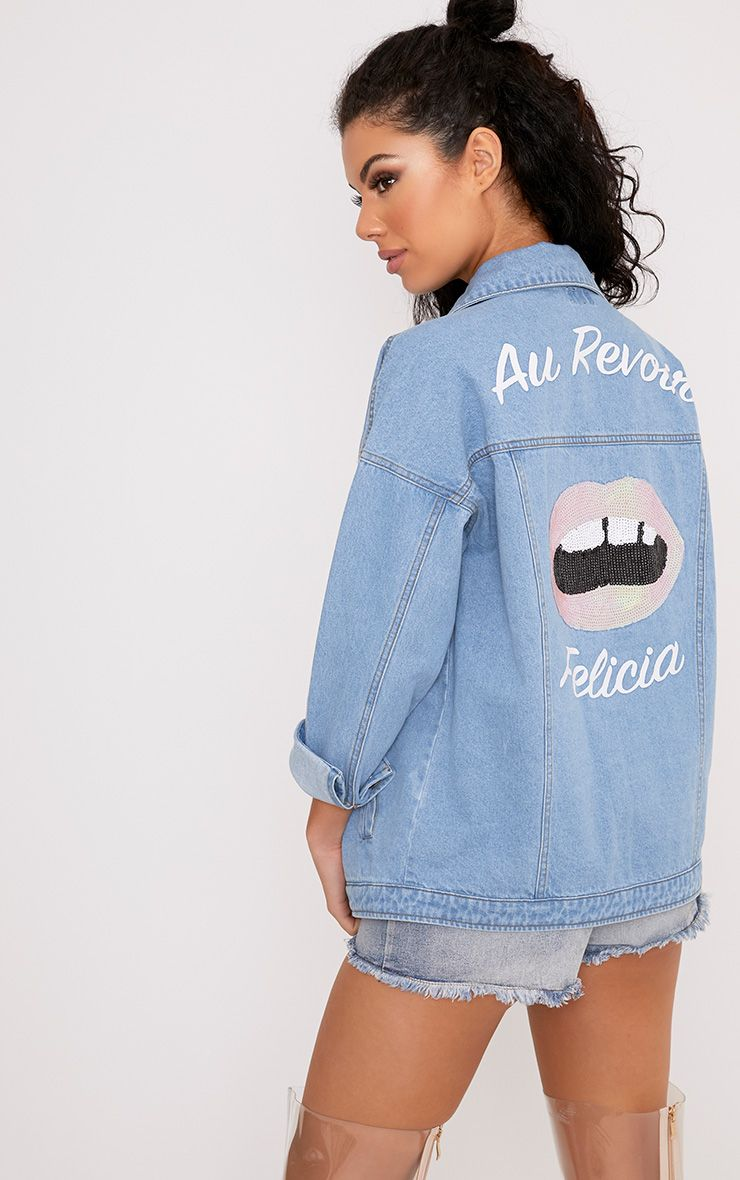 Christianae Mid Wash Au Revoir Felicia Over Sized Denim Jacket