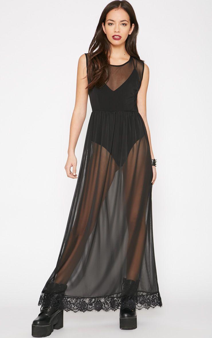 Ophelia Black Lace Trim Mesh Maxi Dress 1