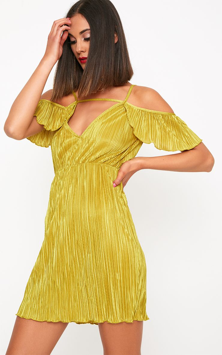 Lime Pleated Cold Shoulder Bodycon Dress