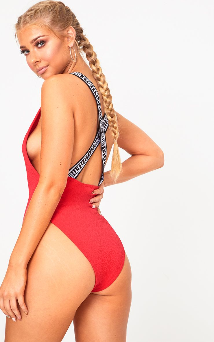 Red PLT Stap Beach One Piece