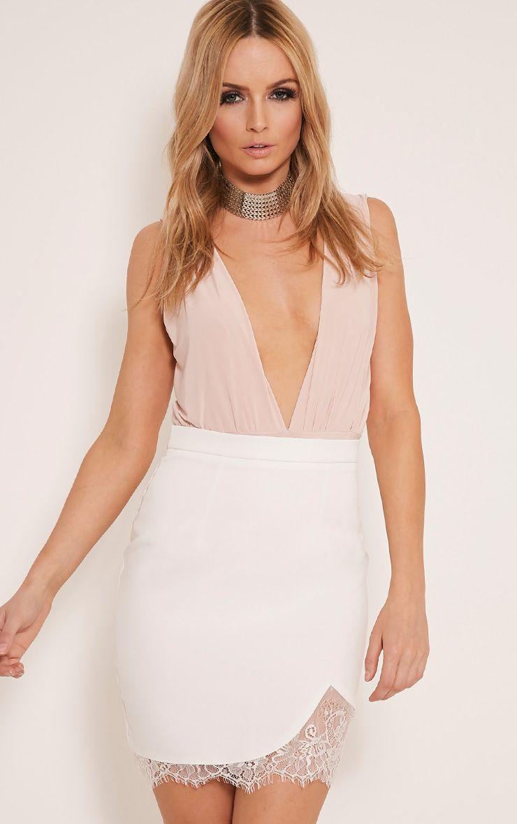 Stasha Cream Eyelash Lace Hem Mini Skirt