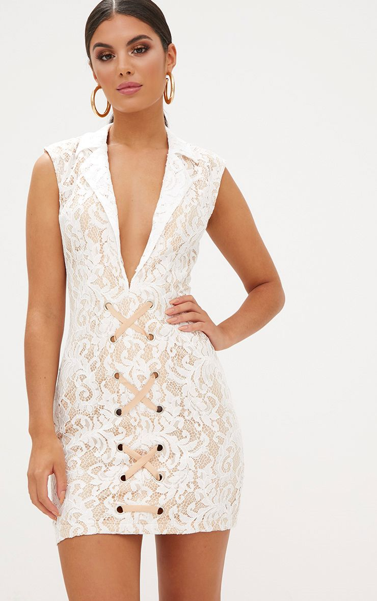 White Sleeveless Lace Blazer Dress