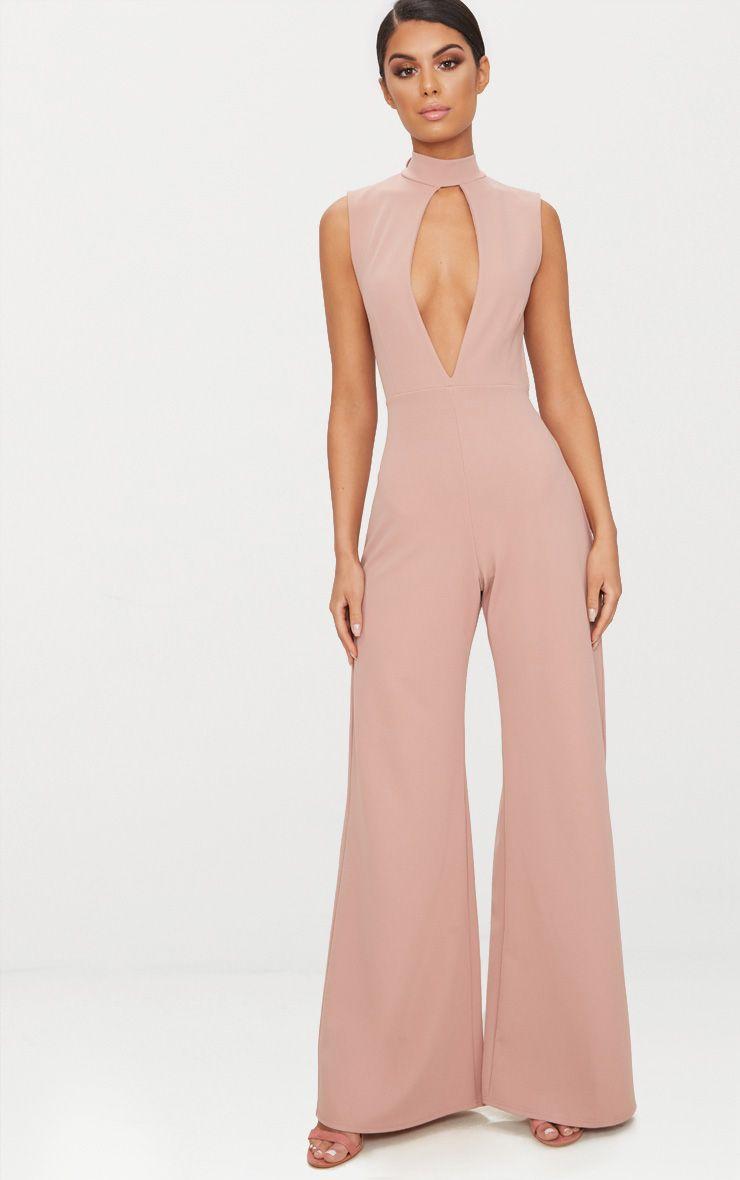 Pink Crepe Sleeveless Keyhole Wide Leg Jumpsuit