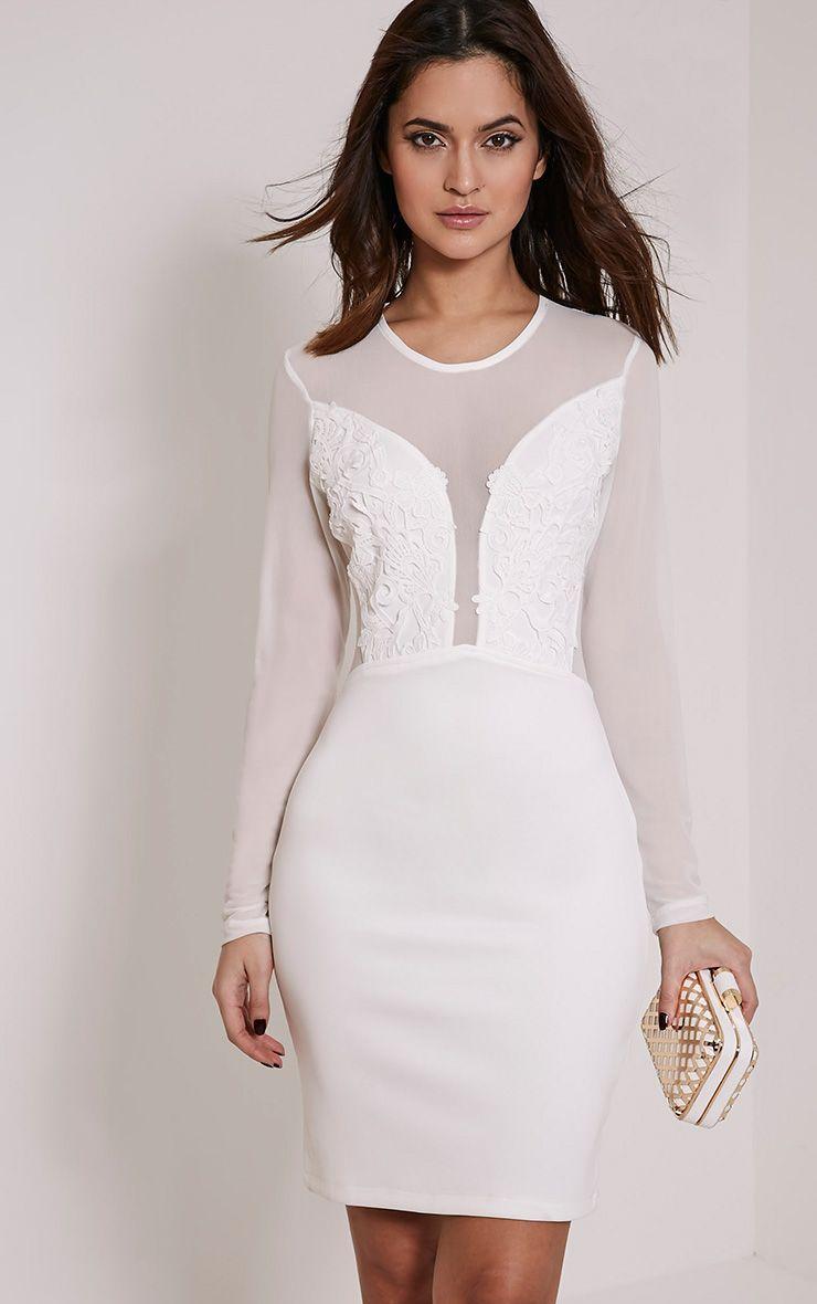 Charlie White Applique Bodycon Dress 1