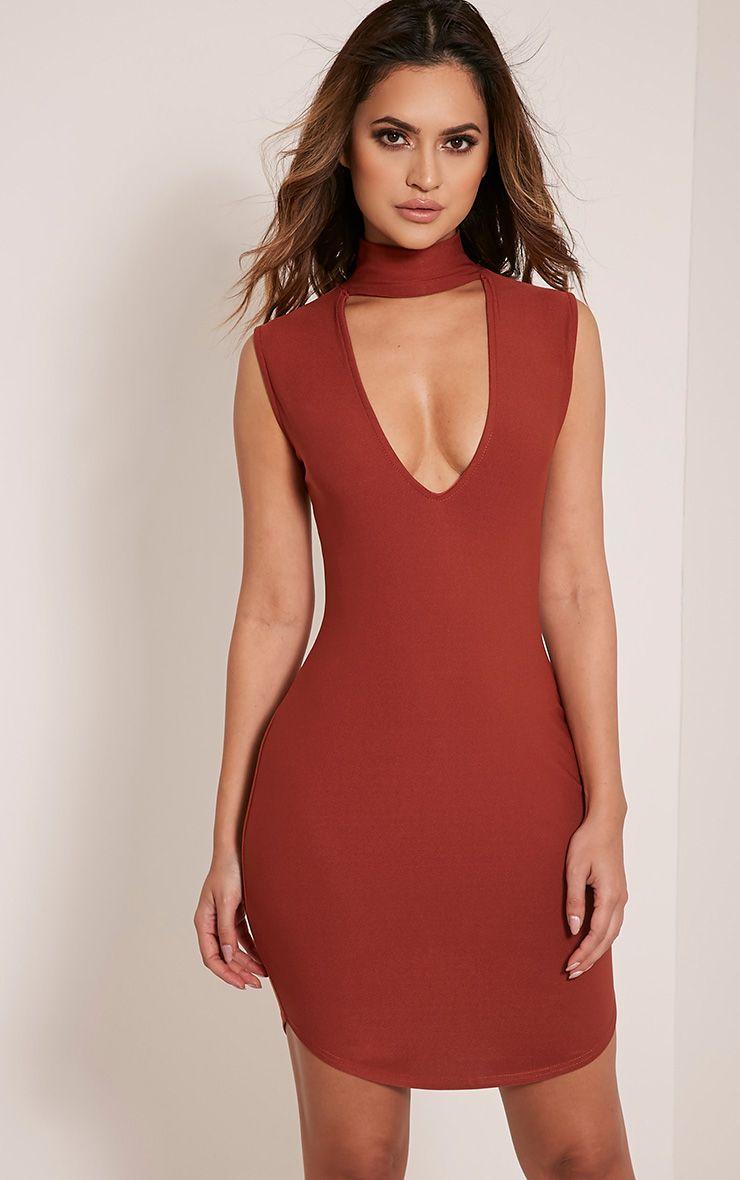 Arianna Tobacco Choker Detail Sleeveless Bodycon Dress 1