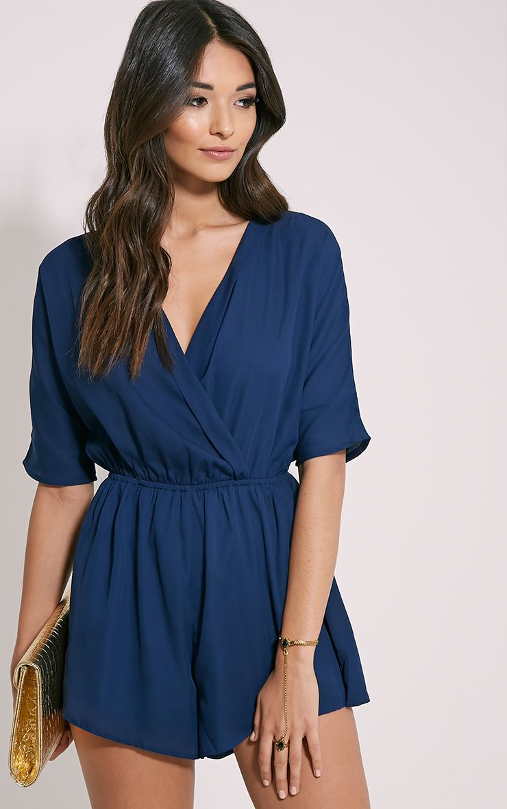 Bobby Navy Wrap Front Playsuit 1