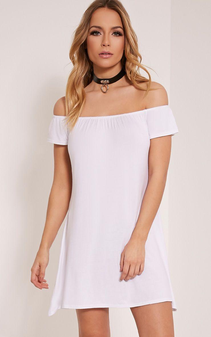 Sadia White Bardot Mini Dress 1