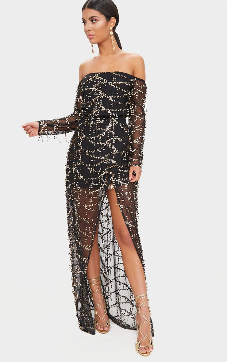 Black Bardot Sequin Wrap Maxi Dress