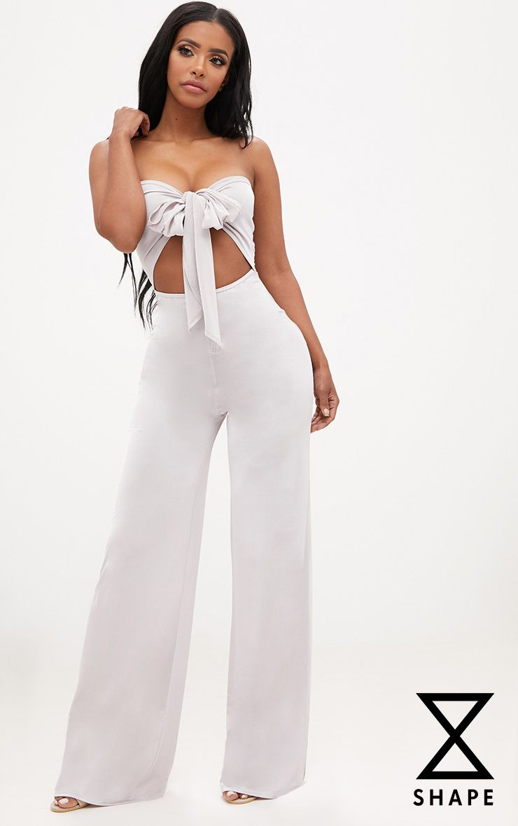 Shape Ice Grey Bow Detail Culotte Jumpsuit