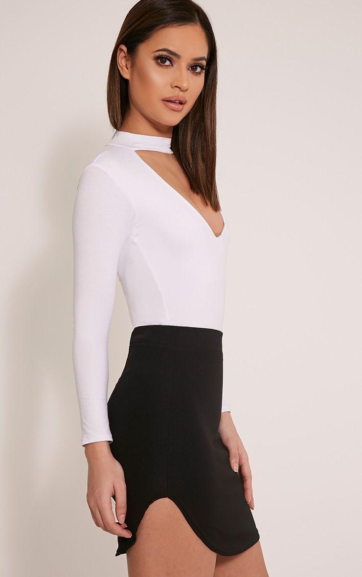 Aleshia Black Crepe Curved Hem Mini Skirt 1