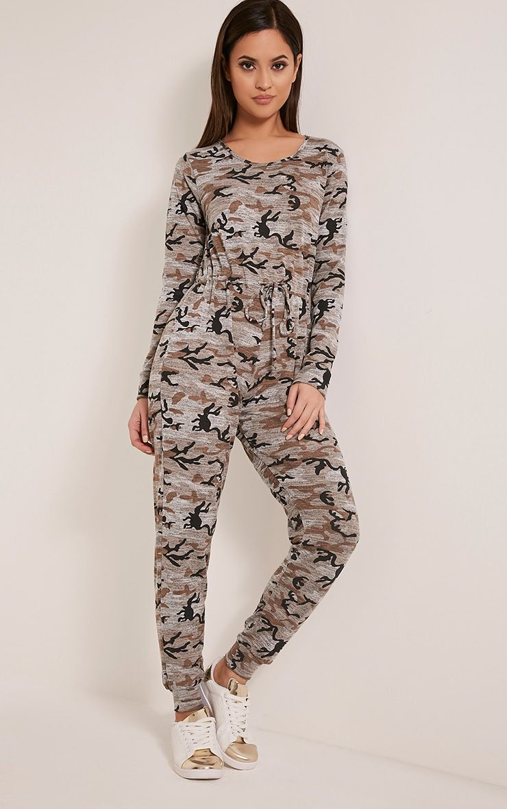Lottie Taupe Camouflage Long Sleeve Casual Jumpsuit