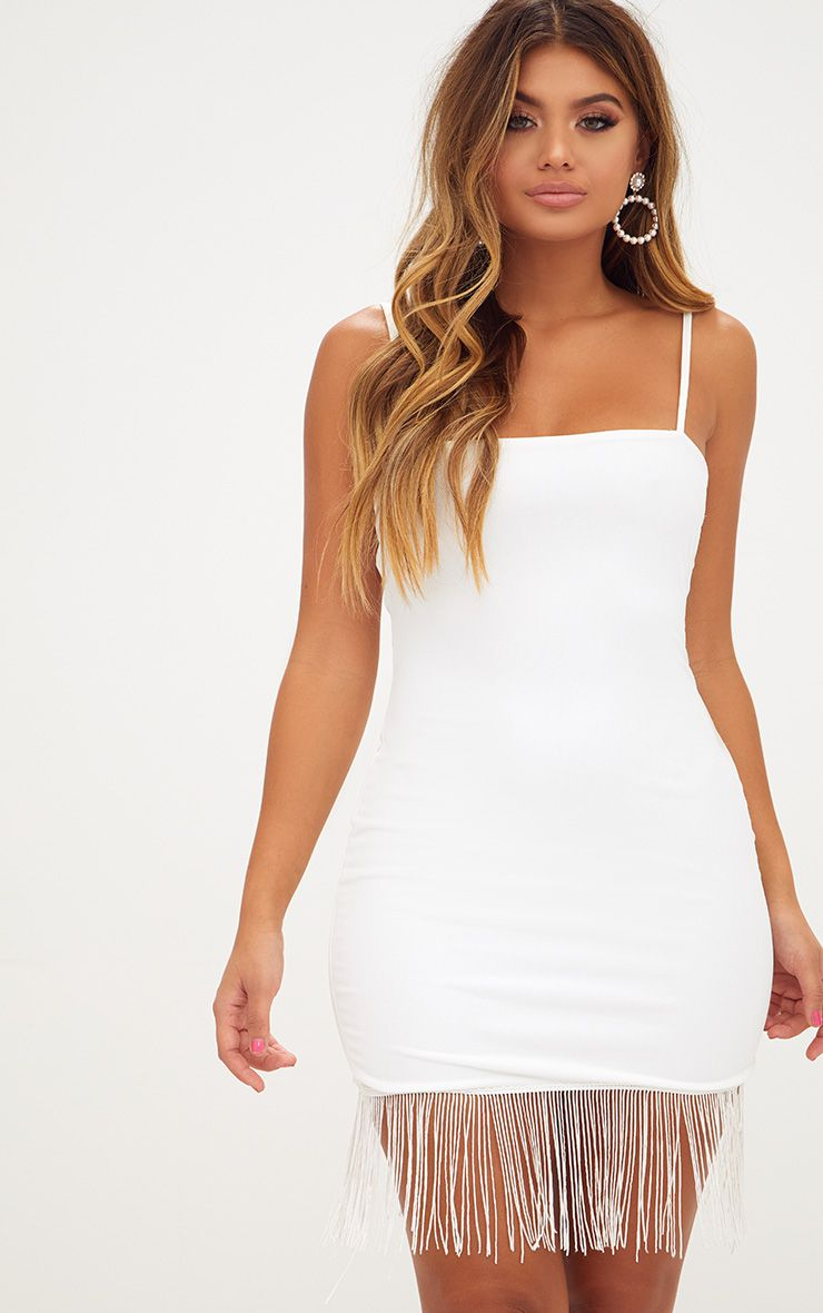 White Strappy Tassel Hem Bodycon Dress