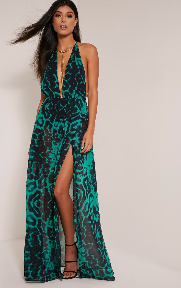 Alina Green Leopard Print Plunge Maxi Dress