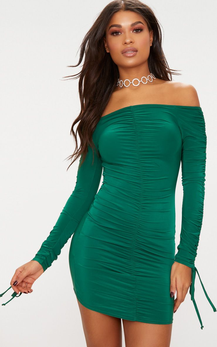 Jeseme Green Sequin Front Bodycon Dress Dresses
