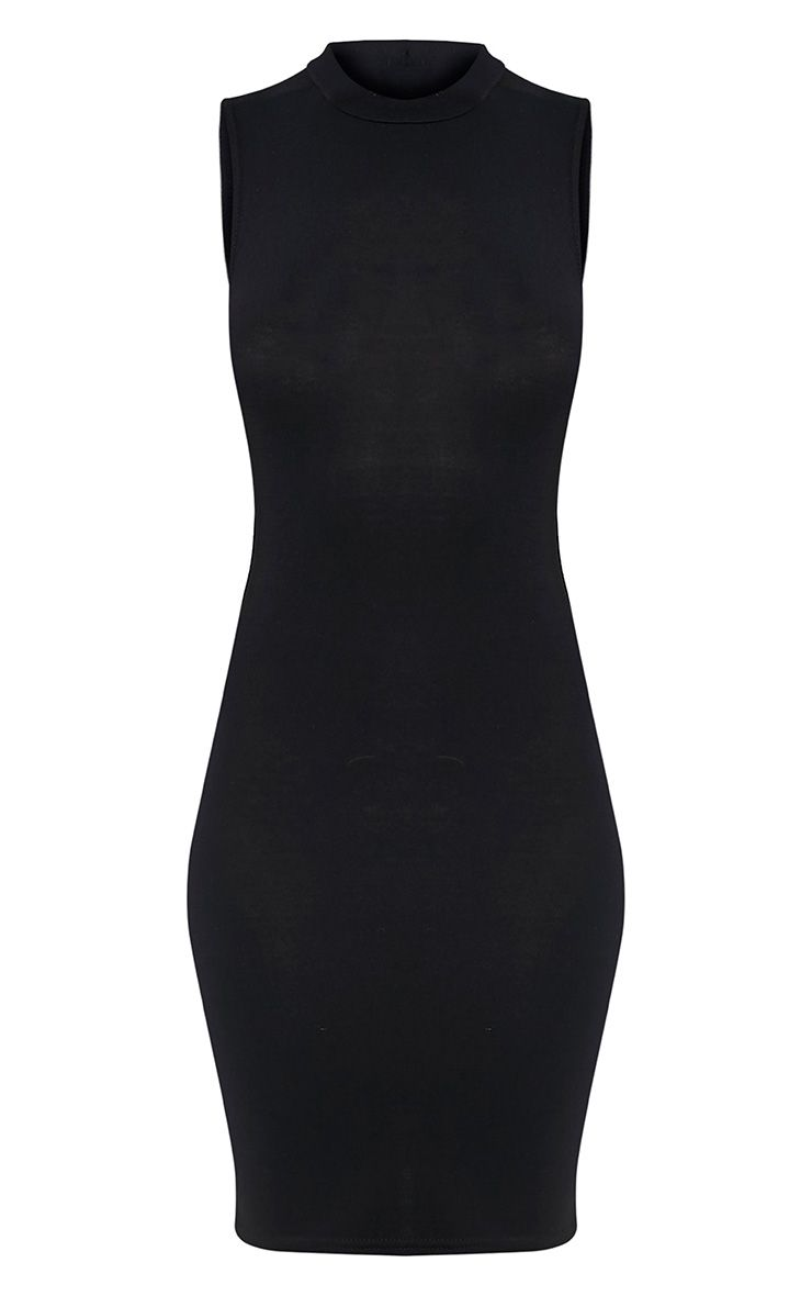 Rebecca robe moulante noire à col montant 3