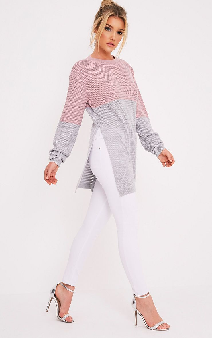 Varla Grey Colour Block Side Split Jumper