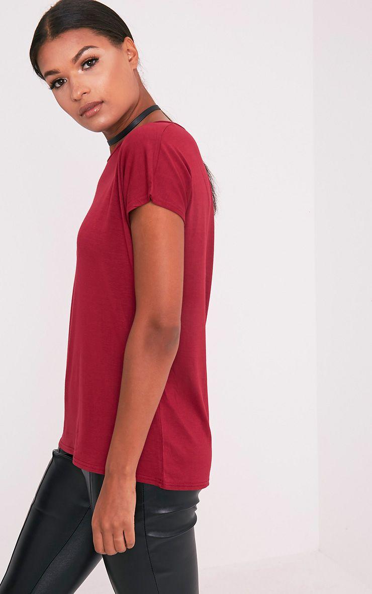 Basic t-shirt surdimensionné à col rond sang de bœuf 5