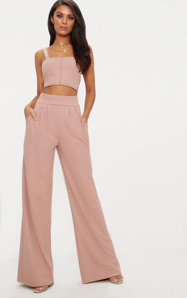 Dusty Pink Pleated Front Wide Leg Trouser