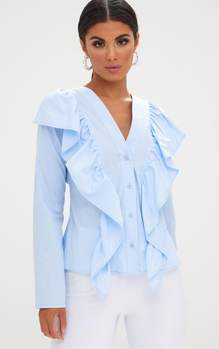 Pale Blue Frill Front V Neck Shirt