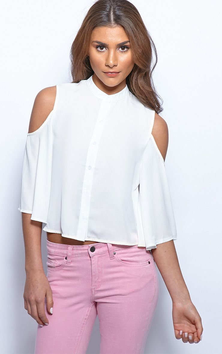 Laurie White Chiffon Cut Out Cropped Shirt  1