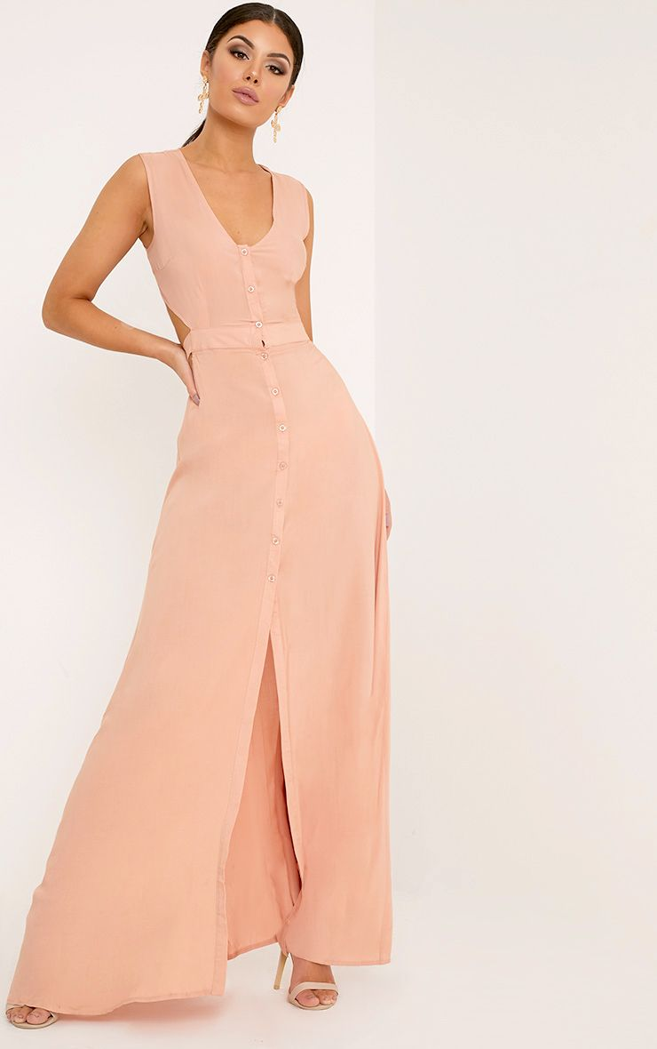 Harlie Nude Tie Back Button Down Maxi Dress