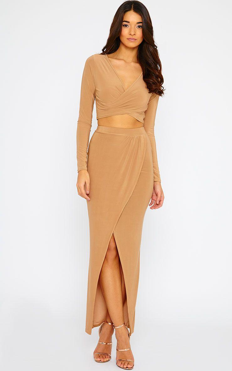 Ginevia Camel Slinky Split Hem Maxi Skirt 1