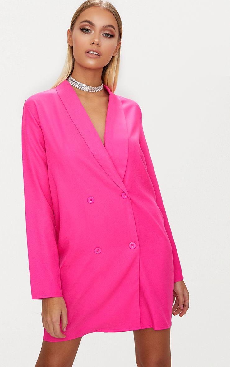 Fuchsia Oversized Blazer Shift Dress