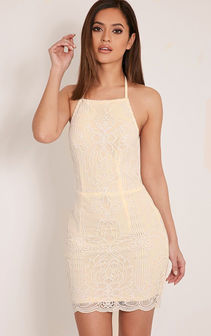 Sassia Cream Halterneck Strappy Back Lace Dress