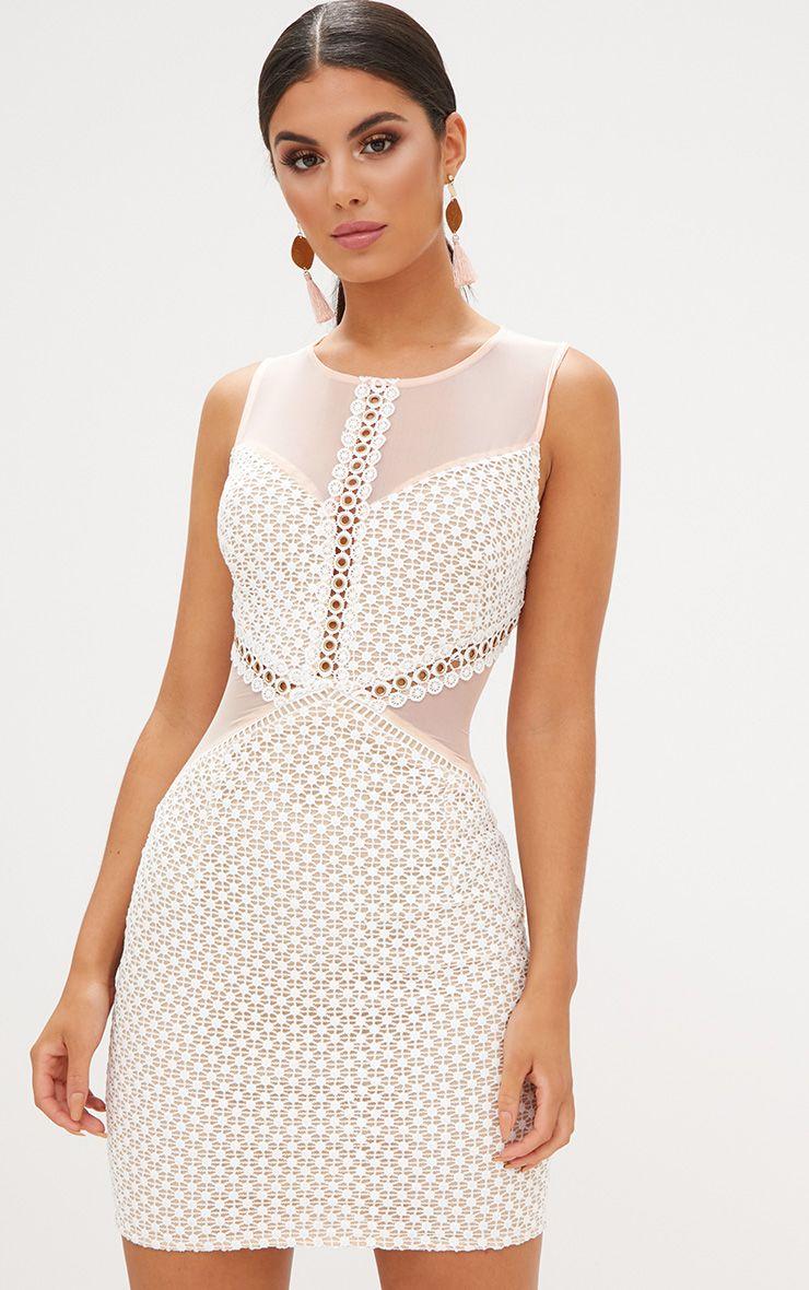 White Crochet Lace Mesh Panel Bodycon Dress