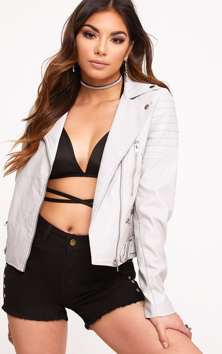 Grey Quilt Sleeve PU Biker Jacket