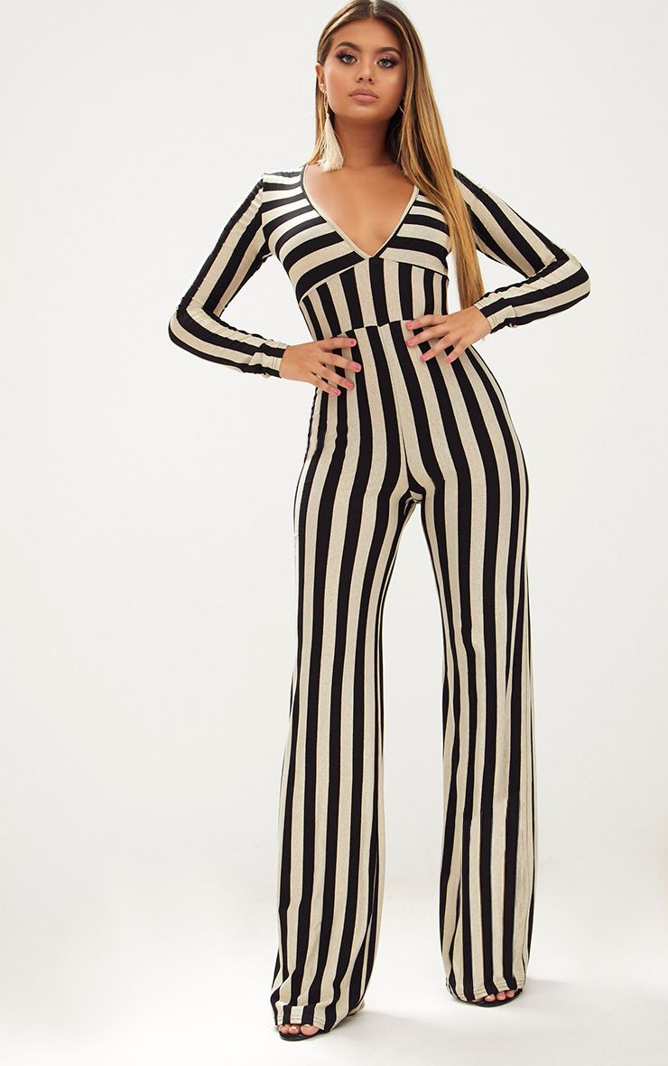 Gold Striped Long Sleeve Plunge Jumpsuit