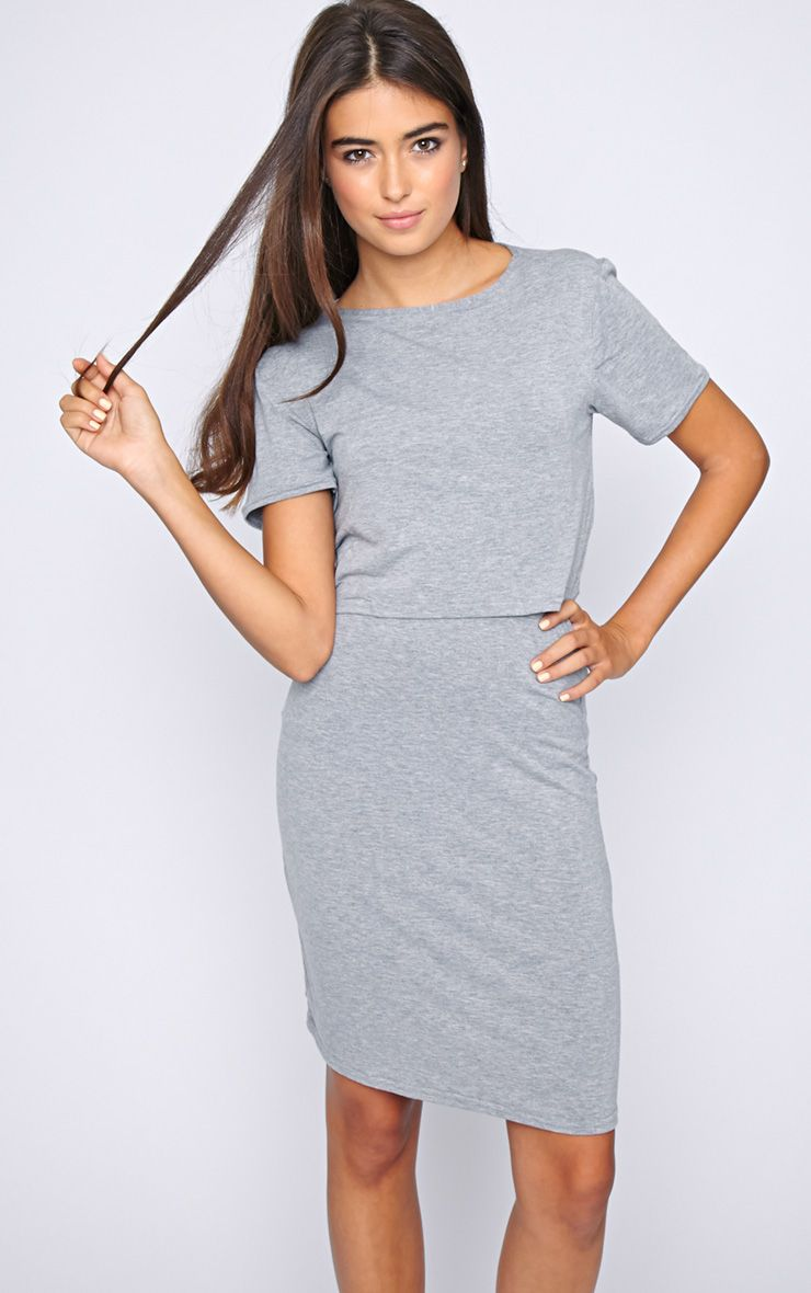 Fran Grey Layered Tshirt Dress with Open Back  1