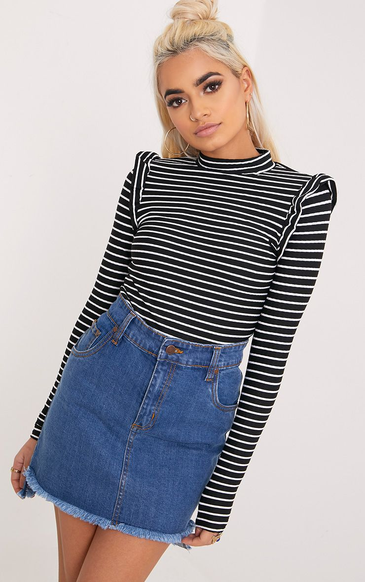 Zooey Black Stripe Frill Long Sleeve Top