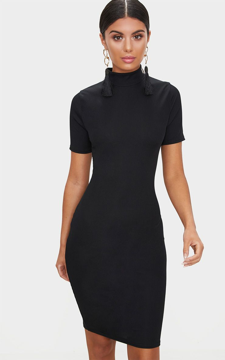Black Ribbed Short Sleeve Midi Dress