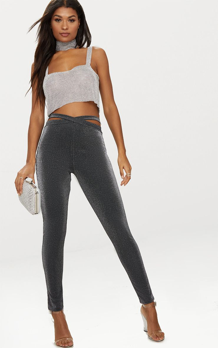 Silver Glitter Strappy Waist Trousers