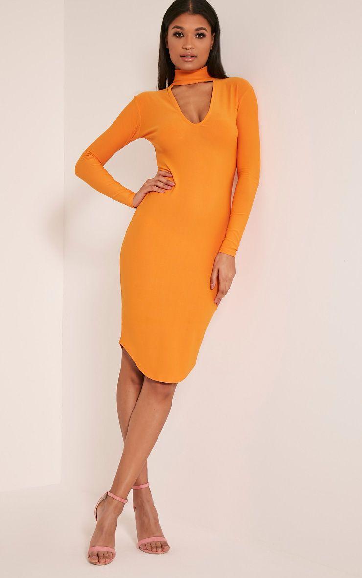 Malaya Bright Orange Crepe Choker Detail Midi Dress 1