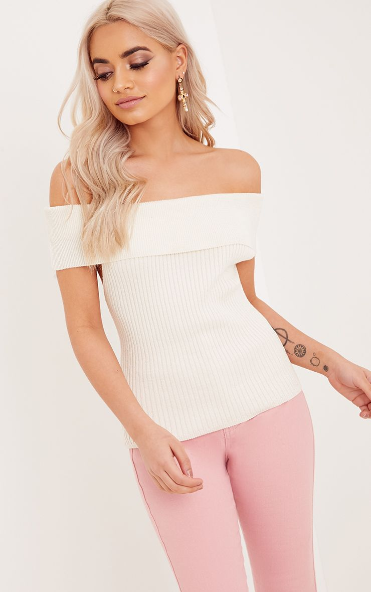 Adah Cream Knitted Bardot Crop Top