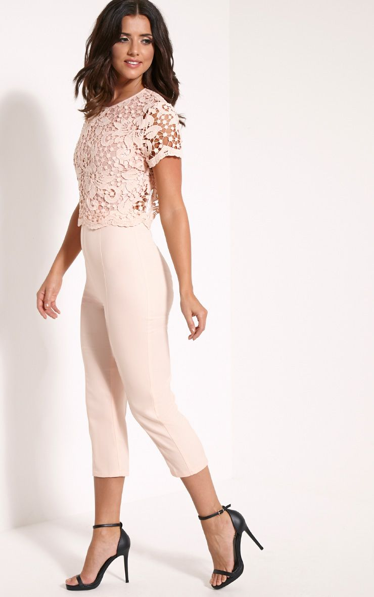 Lizi Peach Lace Backless Cropped Leg Jumpsuit 1
