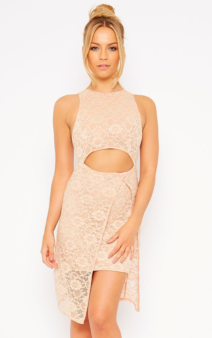 Maliha Nude Lace Cut Out Dress 1