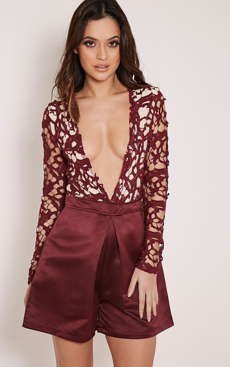 Mailey Plum Crochet Lace Plunge Playsuit