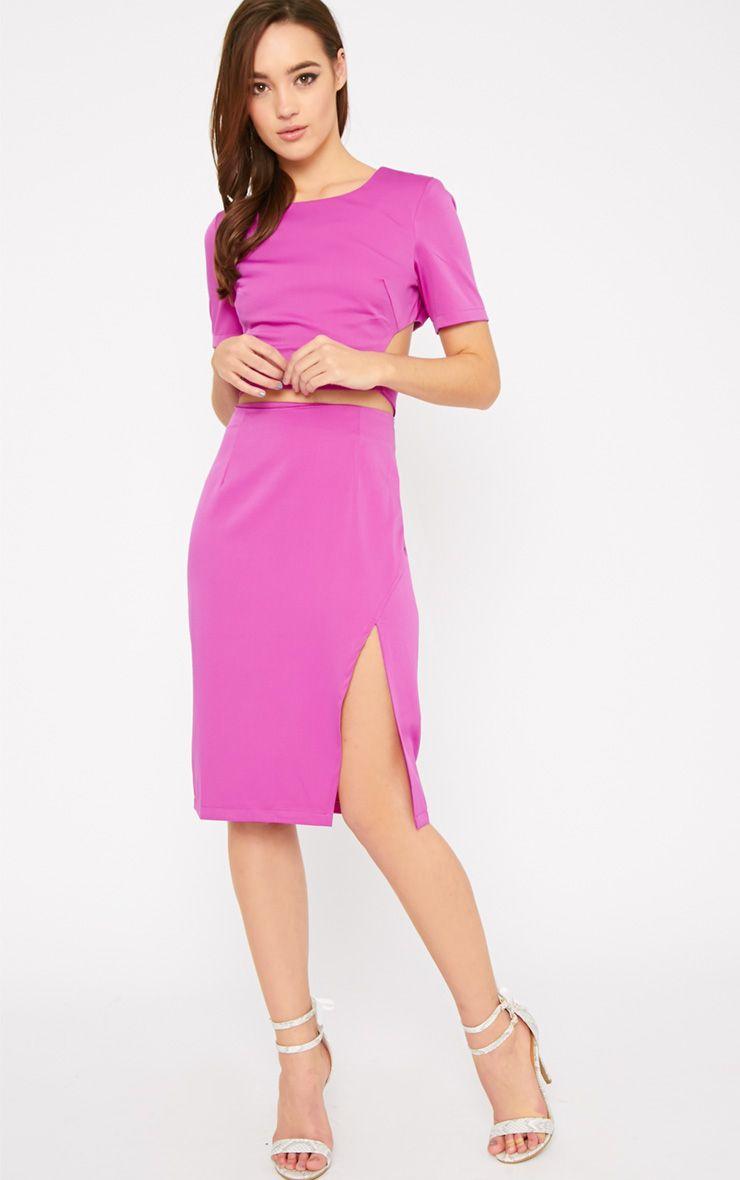 Ginny Fuchsia Slit Midi Skirt  1