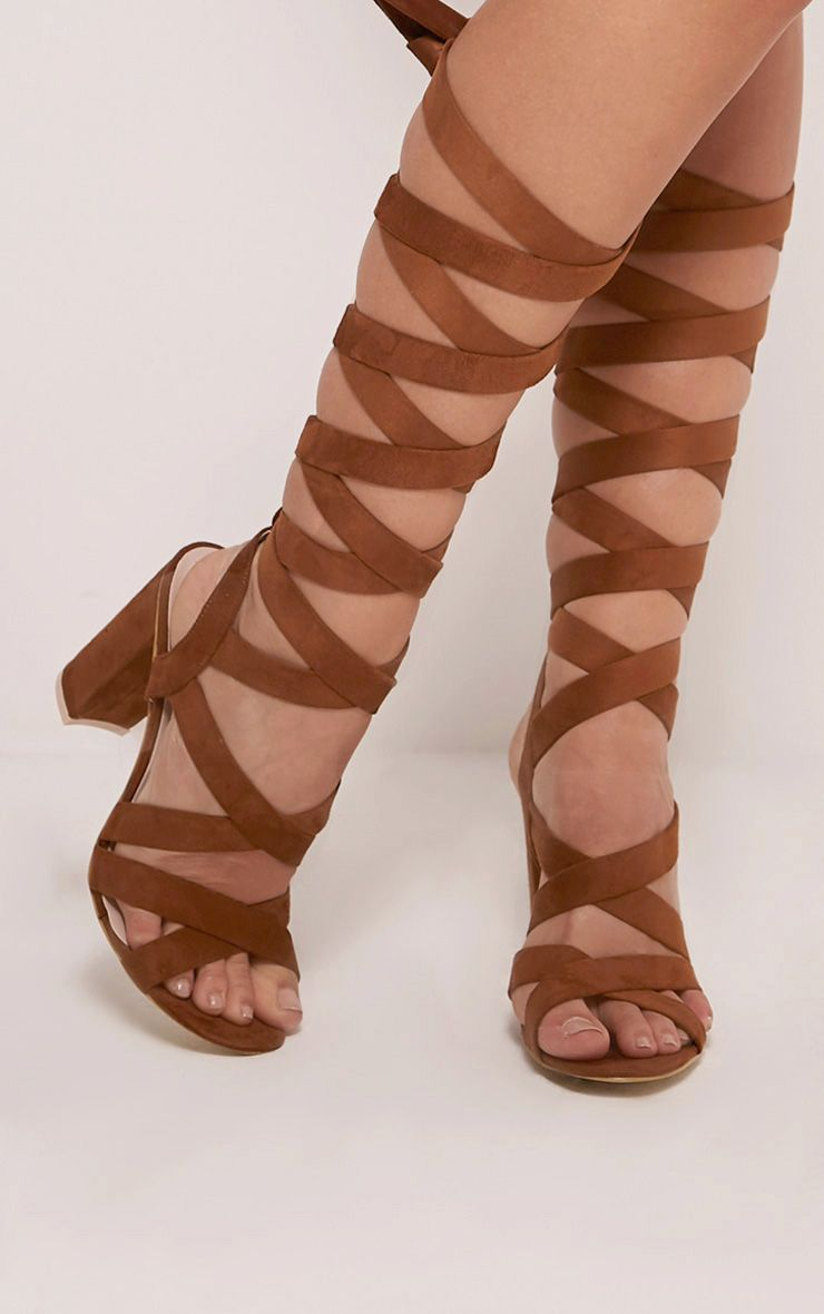 Effie Tan Faux Suede Wrap Gladiator Sandals 1