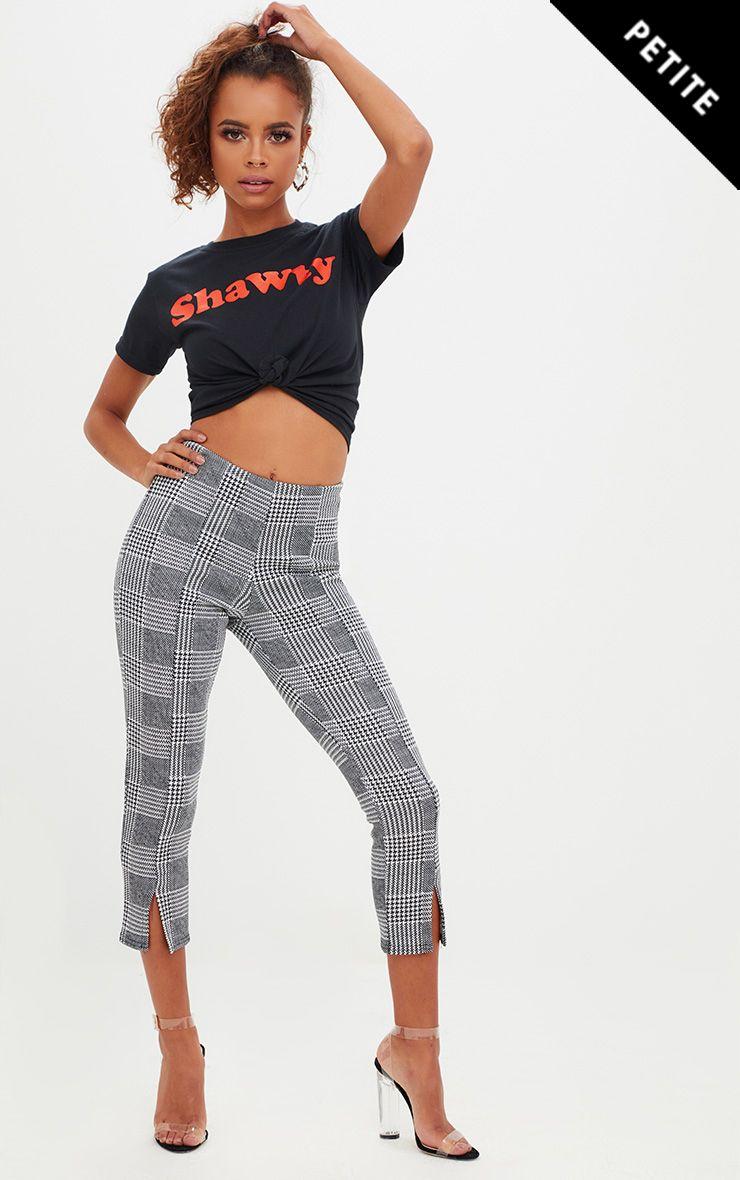 Petite Check Split Hem Trousers