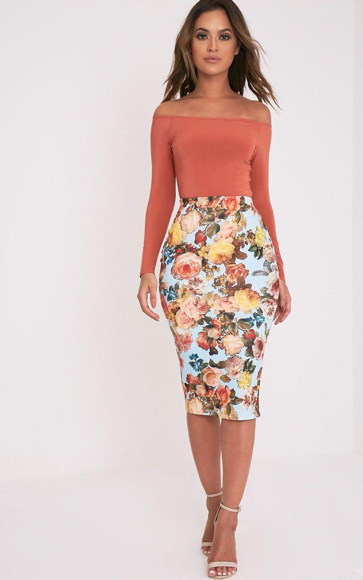 Tula Blue Floral Midi Skirt 1