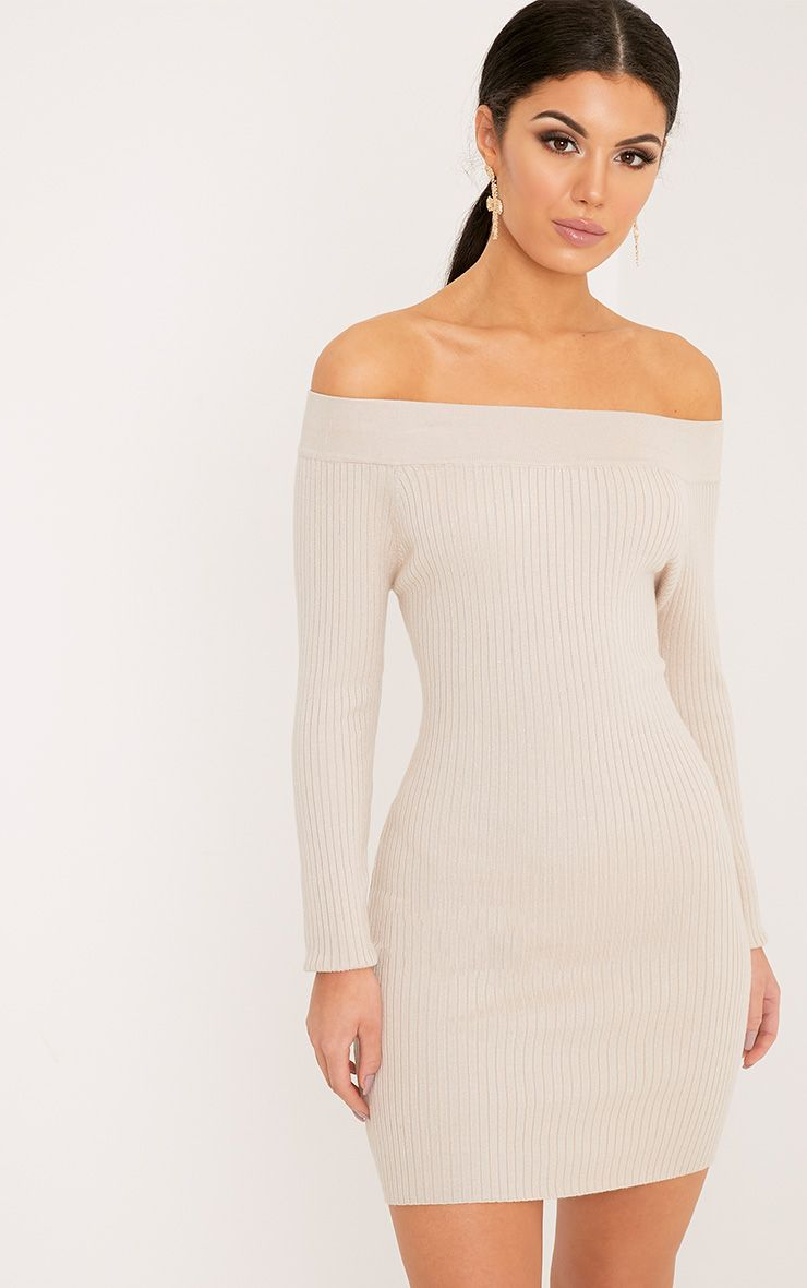 Lidia Stone Fine Rib Bardot Knitted Dress