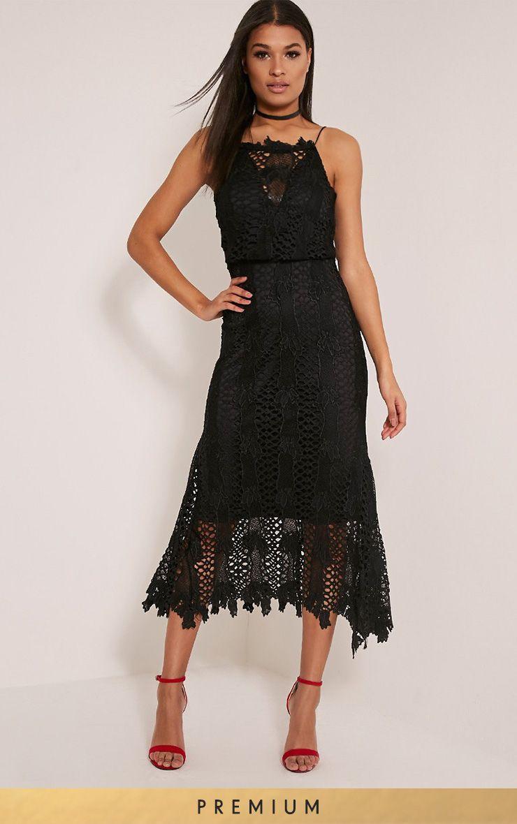 Reeya Black Premium Lace Midaxi Dress
