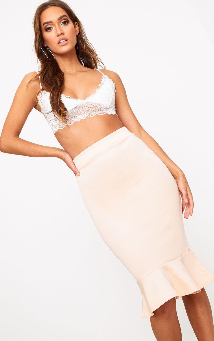 Nude Fishtail Midi Skirt